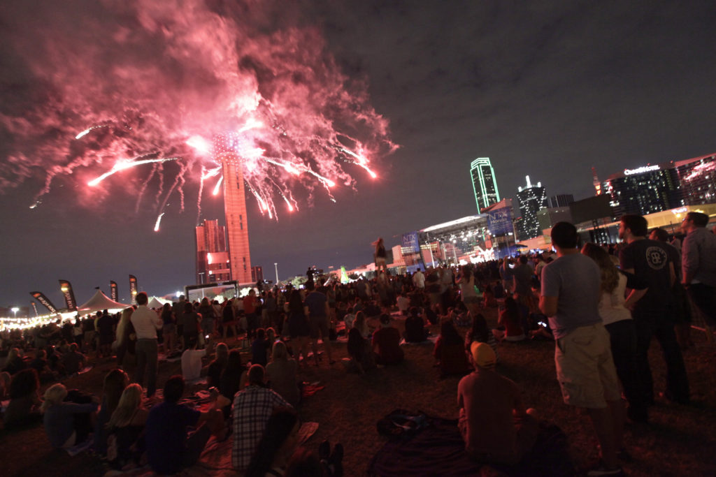 Guests view fireworks in downtown Dallas, TX, on Oct. 9, 2015. (Jason Janik/Special Contributor)